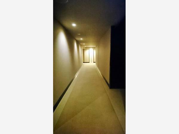 共用の廊下はホテルライクのように。プライベートにも配慮した内廊下設計。