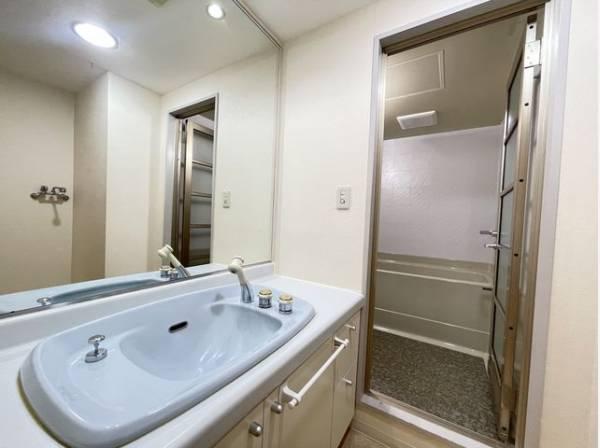 壁一面の鏡で朝の身だしなみもくまなくチェック。清潔感溢れるスタイリッシュなデザインの洗面化粧台。