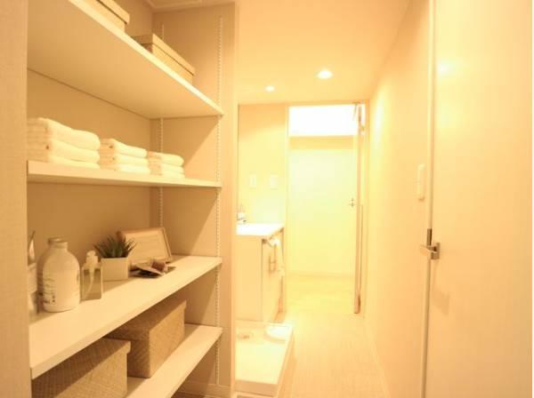 洗面室には、可動棚付きの収納棚があります。タオルや洗剤の買い置きなど物が溢れるサニタリーには重宝する収納です。