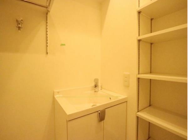 洗面室には、必要な物がきちんと収まる収納スペースを確保しています。