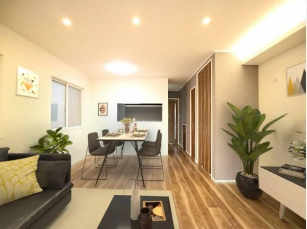 (2号棟)ダイニングテーブルとソファ、リビングテーブルを置いてもゆったりとしたスペースがあるLDKです。(配置してある家具や小物はCGよるイメージです。)