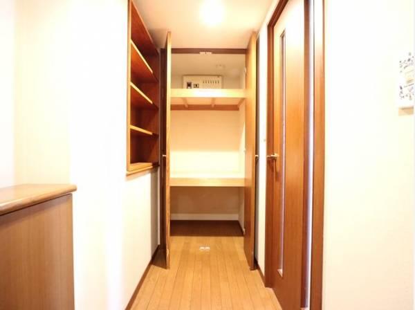 リビングへと続く廊下には収納をご用意。日用品や雨具・アウトドア用品の収納など便利にお使いいただけます。