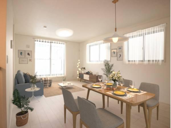 ダイニングテーブルとソファ、リビングテーブルを置いてもゆったりとしたスペースがあるLDKです。(配置してある家具や小物はCGよるイメージです。)