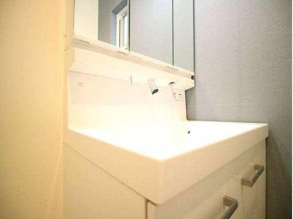 清潔感のある洗面化粧台。一日の始まりと終わりを心地よく演出してくれる場所です。
