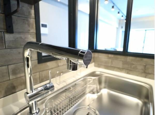 水器内蔵型ハンドシャワー水栓を採用しています。ワンタッチ式で浄水機能に切り替えができます。