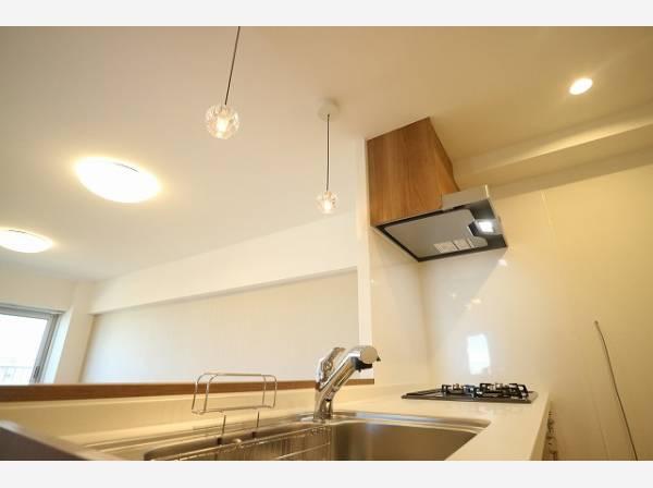 キッチンには、おしゃれな照明も設置されています。