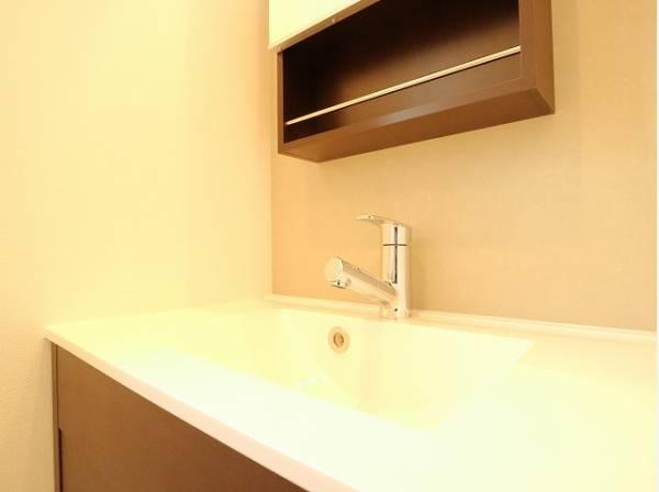 リビング階にも洗面台が設置されています。朝の身だしなみチェックやお子様の手洗いなどにも最適ですね。