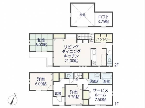 A区画建物参考プラン:3SLDK、土地面積109.58㎡、建物面積106.11㎡
