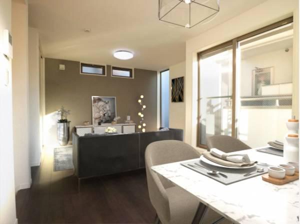 LDKは約16.3帖の大空間。すっきりとした空間は、家具やインテリアでアクセントをつけましょう。シンプルな内装は、コーディネートも愉しみです。