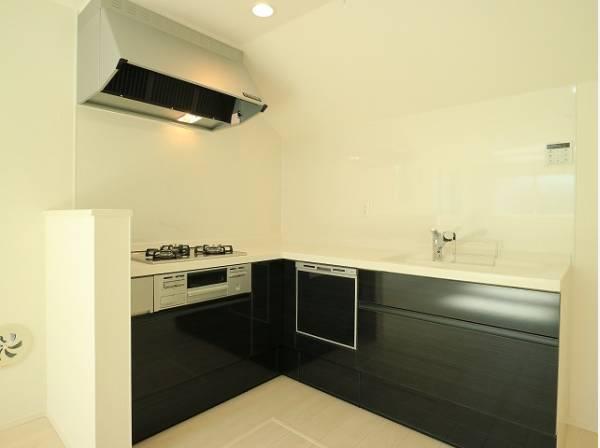 広々としたシステムキッチンは収納力があります。いつもすっきりとしたキッチンに。L型キッチンは作業効率が良いのが魅力ですね。