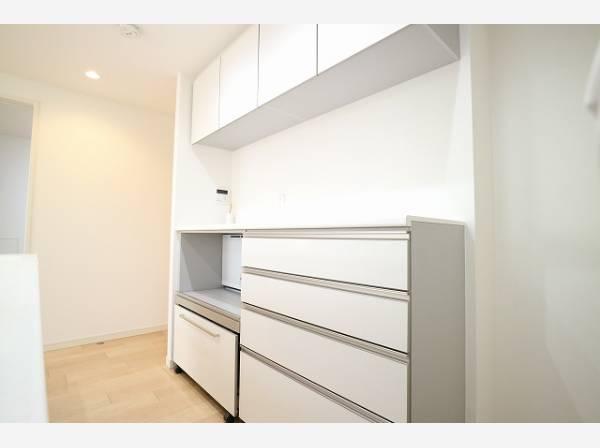 キッチンの後ろにはカウンターをご用意いたしました。食器やキッチン家電、食材などもスッキリと収納できます。