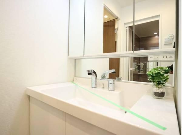 三面鏡の付いた洗面化粧台は、鏡面裏側にも機能的な収納を配置。スキケア用品などが衛生的に保管できます。