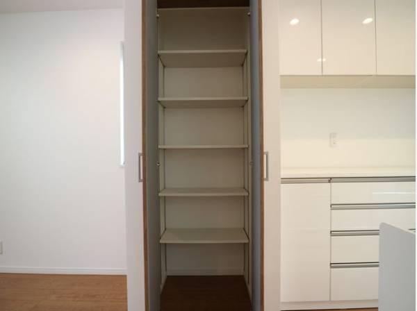 パントリーが設置されています。可動棚にはキッチン用品をたくさん収納できますのでスッキリと過ごしていただけます。