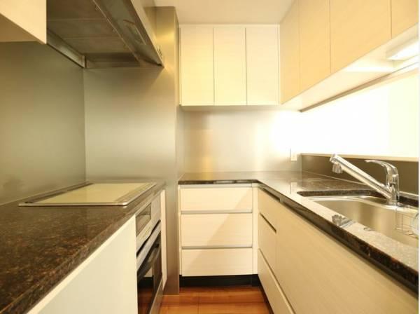 キッチンの後ろにはカウンター収納をご用意いたしました。大容量の収納スペースは、食器やキッチン家電、食材などをスッキリと収納できます。