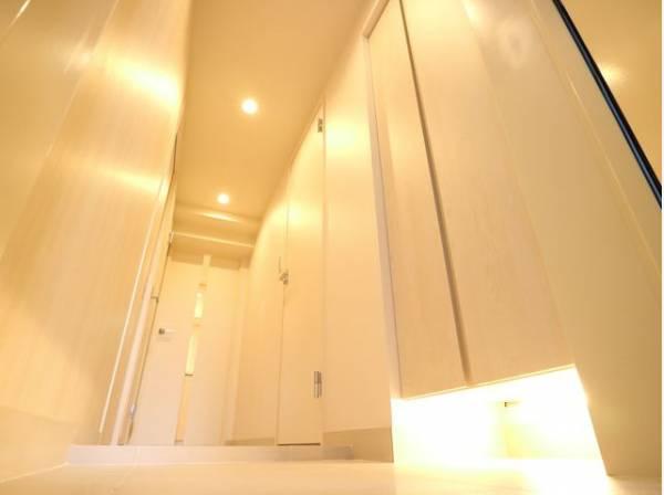 玄関を開けると、明るい日が差し込むリビングへと誘う廊下。清潔感のある落ち着いた空間は、毎日の帰宅が楽しみになりますね。