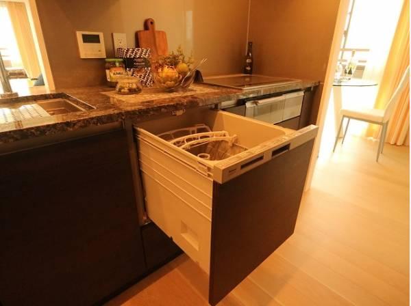 多くの食器が洗えて節水効果もある、ビルトインタイプの食器洗い乾燥機付き!