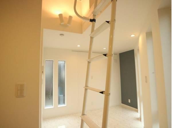 梯子はキッチン横の壁面に収納可能です。