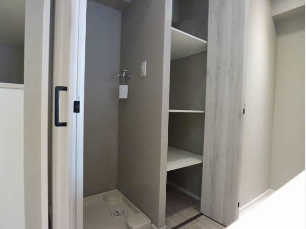 背面に収納、洗濯機置場を設けています。 効率よく家事がこなせる動線です。