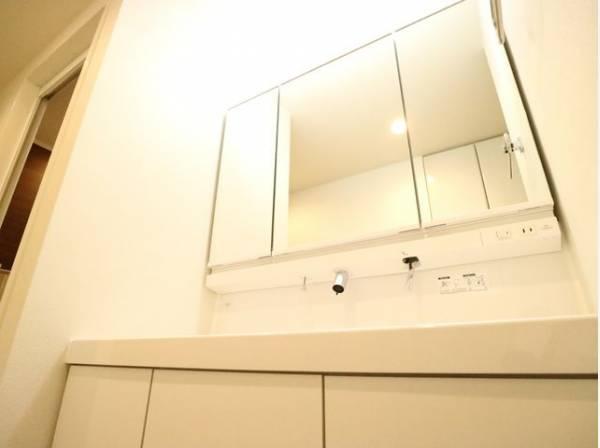 様々な角度から見れる三面鏡付き洗面台は、ヘアスタイルを整えるときに大変便利です。またミラー扉の内側が全て収納スペースになっておりますので、ヘアゴムや整髪料などの細々とした物を収納できます。