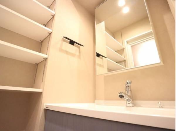 清潔感のある色合いのプライベート空間は、身だしなみチェックや肌のお手入れに最適です。収納もあり、スッキリと見映えの良い空間に拵えました。時間に余裕とゆとりを持たせます。