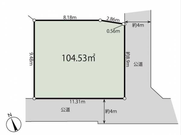 土地価格9980万円、土地面積104.53m2