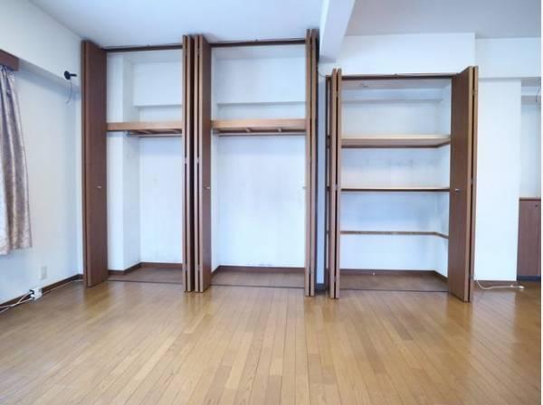 棚やハンガーパイプが付いた使いやすい設計で大容量収納可能。普段使わない季節用品やトランクなど、大きなものもラクラク収納できます。