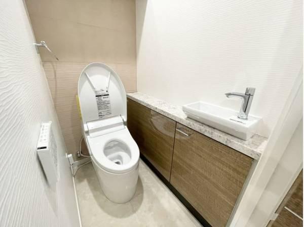 トイレには手洗いカウンターを設置。カウンター下には収納スペースもあり便利です。