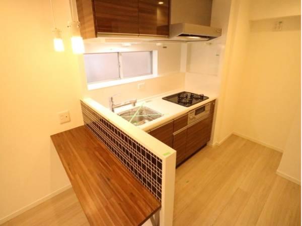 キッチンのすぐそばにカウンターをご用意いたしました。カウンターがあることで調理台以外のスペースが出来て便利です。