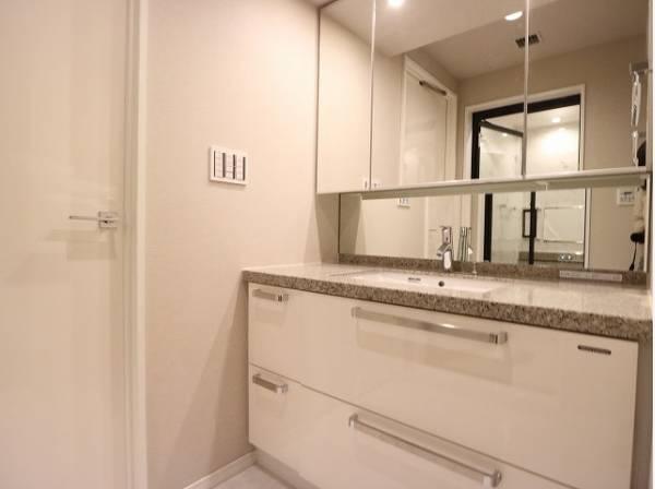 デザイン性の高い高級感のある洗面化粧台。一日の始まりと終わりを心地よく演出してくれる場所です。