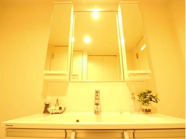 機能性の高い洗面化粧台。一日の始まりと終わりを心地よく演出してくれます。