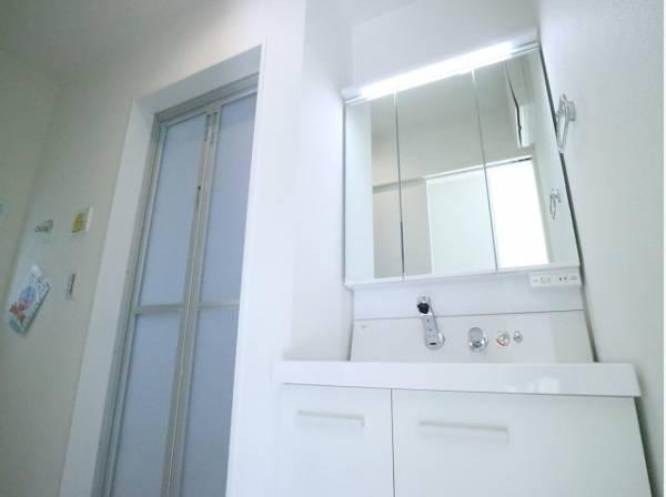 三面鏡の付いた洗面化粧台は、鏡面裏側にも機能的な収納を配置。普段使いの洗面小物やスキケア用品などが衛生的に保管できます。
